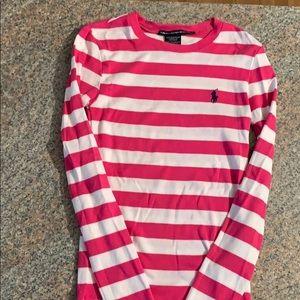 Ralph Lauren long sleeve pink and white shirt.